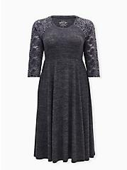 Lace Skater Dress - Super Soft Plush Charcoal Grey , CHARCOAL, hi-res