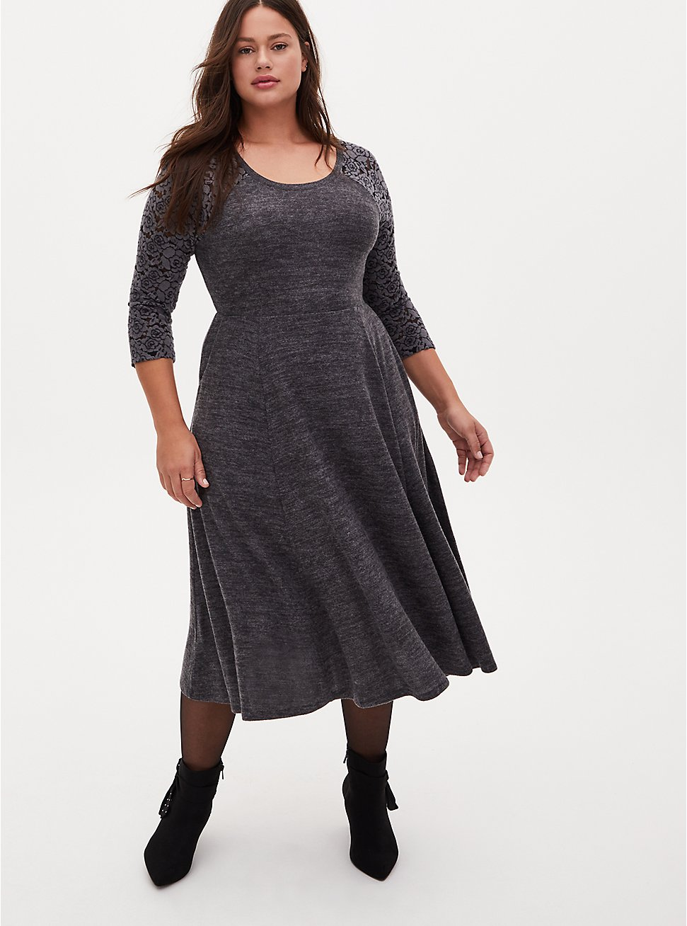 Super Soft Plush Charcoal Grey Lace Skater Dress, CHARCOAL, hi-res