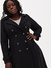 Plus Size Black Woolen Fit & Flare Midi Coat, DEEP BLACK, alternate