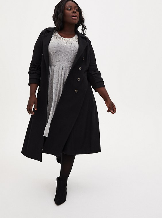 Plus Size Black Woolen Fit & Flare Midi Coat, DEEP BLACK, hi-res