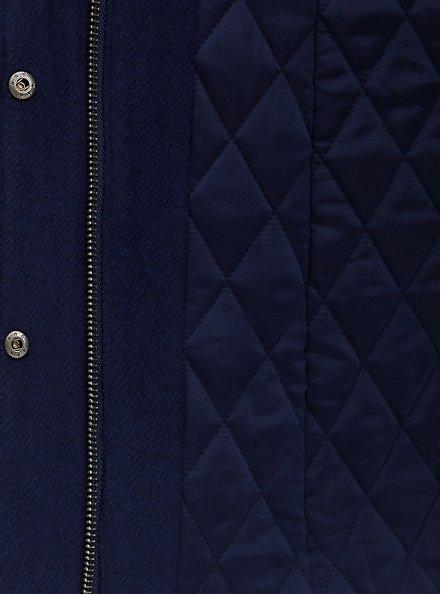 Navy Woolen Faux Fur-Trimmed Coat, PEACOAT, alternate