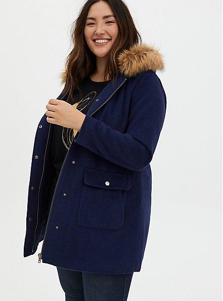 Navy Woolen Faux Fur-Trimmed Coat, PEACOAT, hi-res