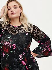Super Soft Black Floral Lace Bell Sleeve Dress, FLORAL - BLACK, alternate