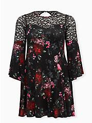 Super Soft Black Floral Lace Bell Sleeve Dress, FLORAL - BLACK, hi-res