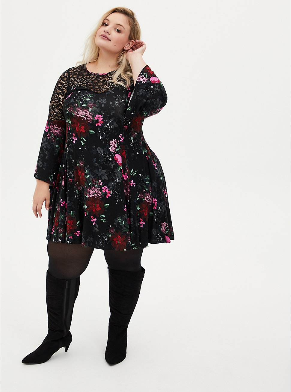 Super Soft Black Floral Lace Bell Sleeve Dress, FLORAL - BLACK, hi-res