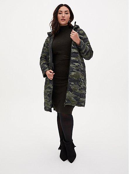 Super Soft Plush Olive Green Mock Neck Bodycon Midi Dress, DEEP DEPTHS, alternate
