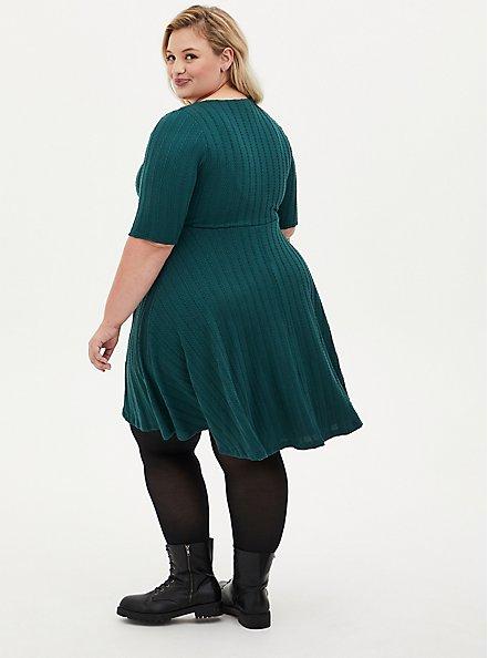 Green Braided Hacci Ribbed Dress, JUNEBUG, alternate