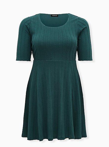 Green Braided Hacci Ribbed Dress, JUNEBUG, hi-res