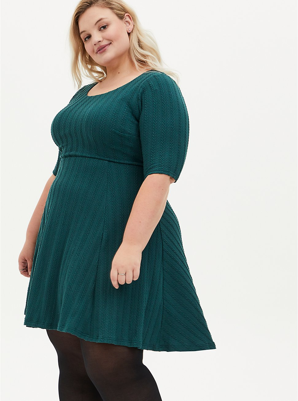 Green Braided Hacci Ribbed Dress, JUNEBUG, hi-res