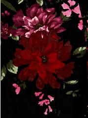 Black Floral Velvet Button Front Skater Dress, FLORAL - BLACK, alternate