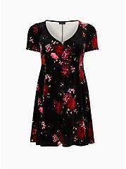 Black Floral Velvet Button Front Skater Dress, FLORAL - BLACK, hi-res