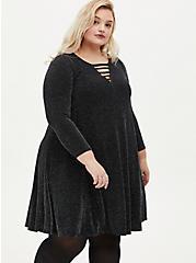 Grey Shimmer Ladder Neck Dress, BLACK  SILVER, alternate