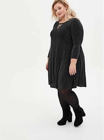 Black Shimmer Jersey Ladder Neck Mini Trapeze Dress, BLACK  SILVER, alternate