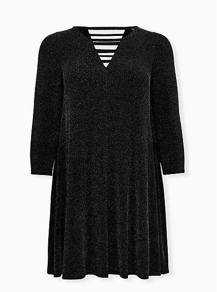 Black Shimmer Jersey Ladder Neck Mini Trapeze Dress, BLACK  SILVER, hi-res