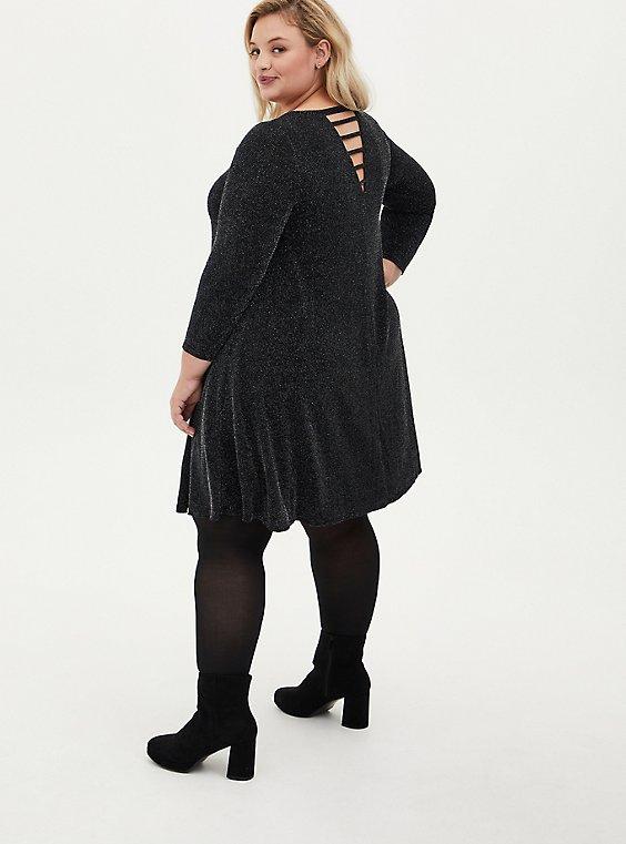 Grey Shimmer Ladder Neck Dress, BLACK  SILVER, hi-res