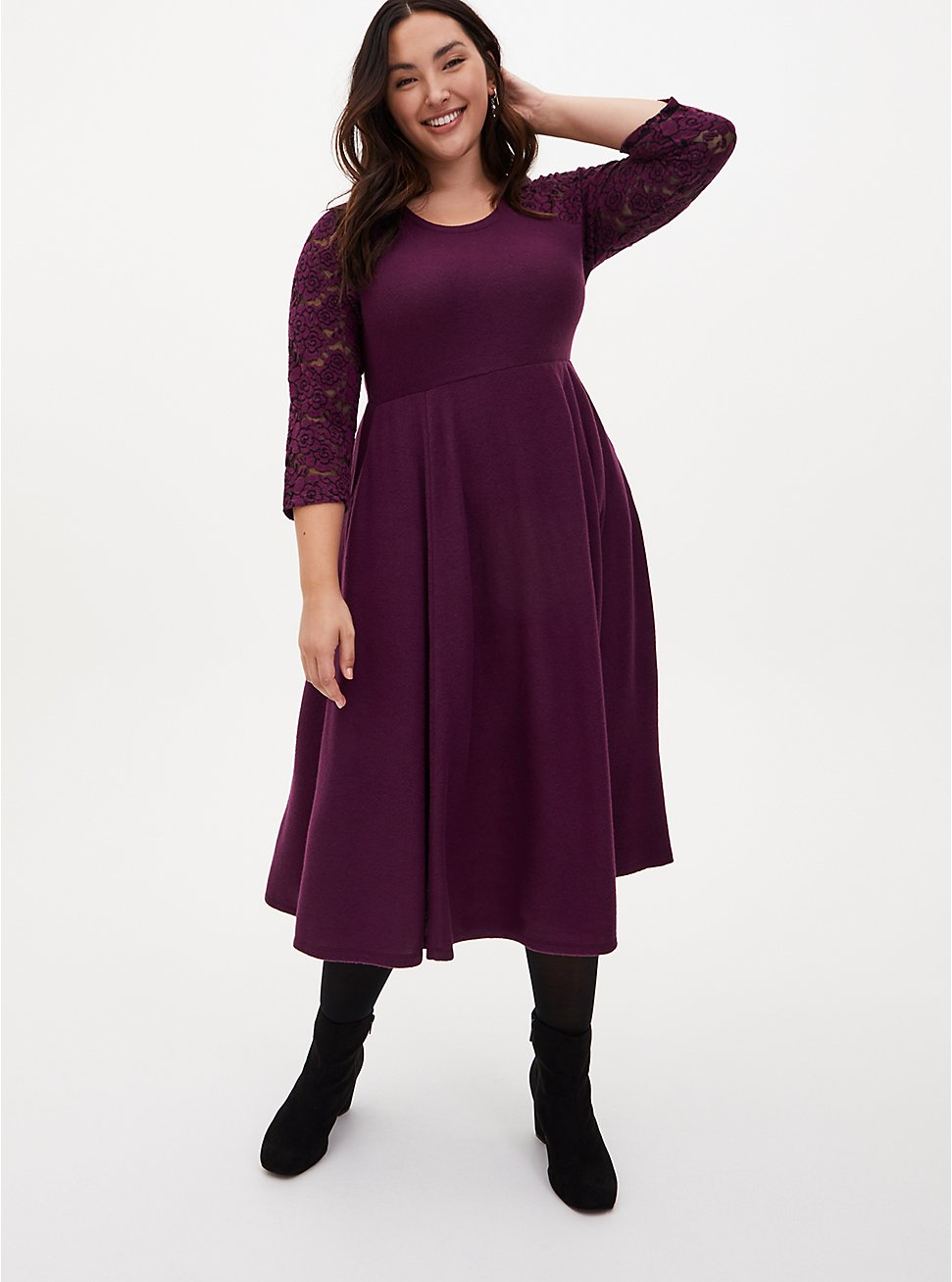 Super Soft Plush Purple Lace Skater Dress, POTENT PURPLE, hi-res