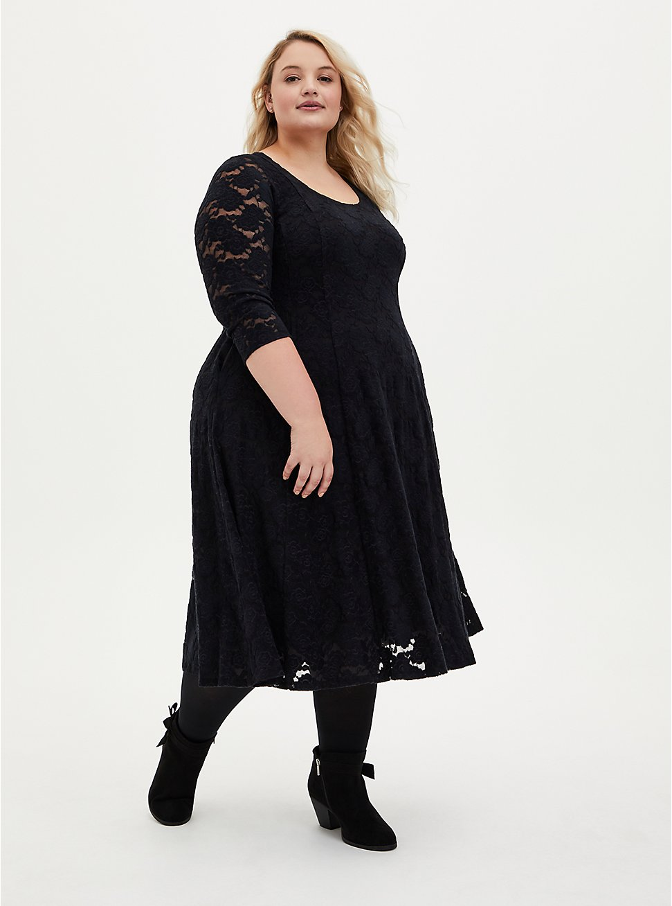Black Brushed Lace Midi Fluted Dress, DEEP BLACK, hi-res