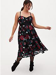 Special Occasion Black Embroidered Floral Midi Dress, FLORALS-RED, alternate