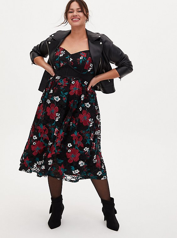 Special Occasion Black Embroidered Floral Midi Dress, FLORALS-RED, hi-res