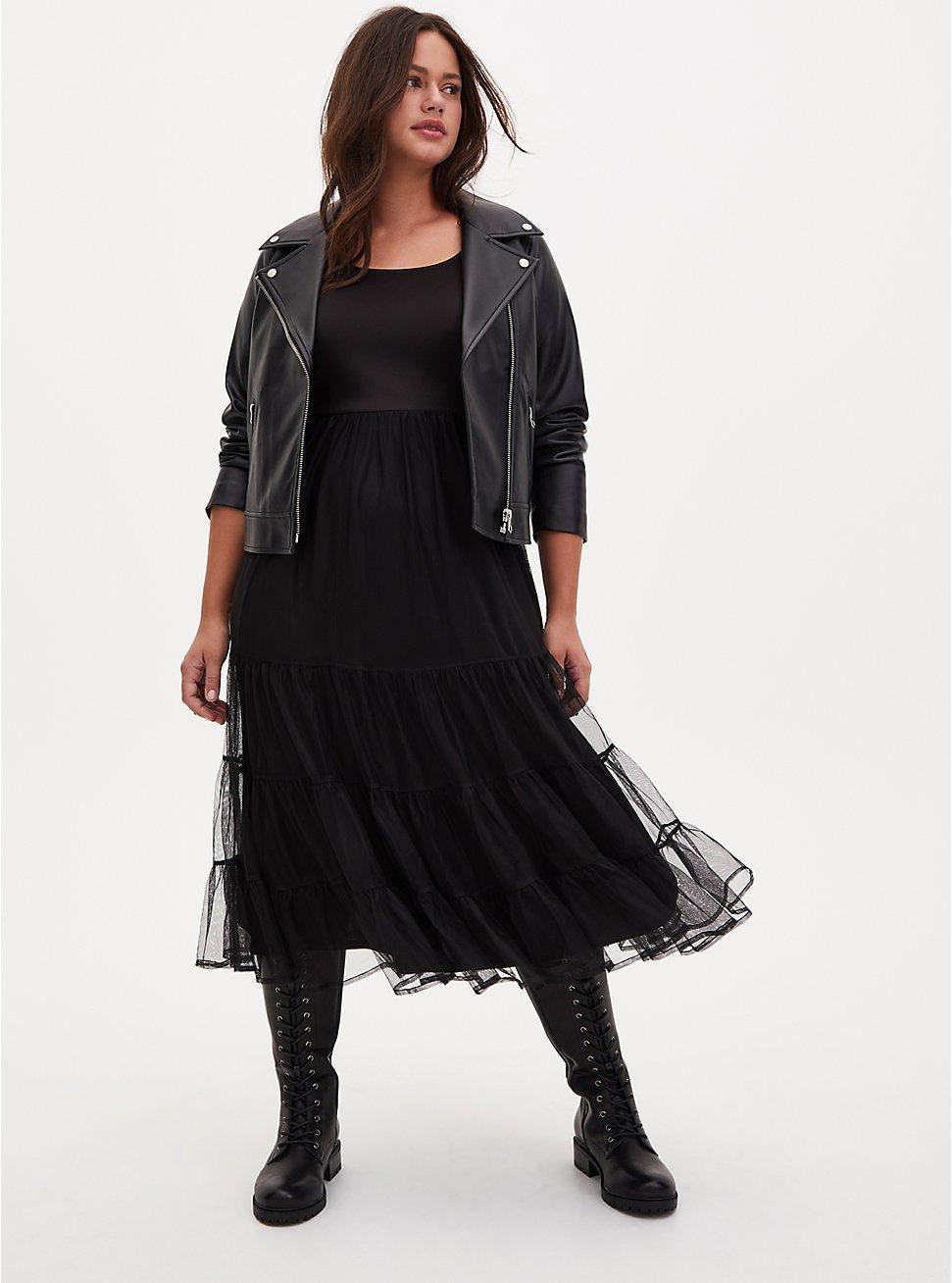 Black Tulle & Scuba Tiered Teal Length Dress, DEEP BLACK, hi-res