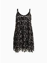 Black & Metal Sequin Fringe Mini Dress, DEEP BLACK, hi-res