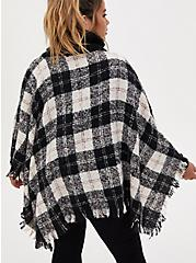 Black & White Buffalo Plaid Turtleneck Poncho, , alternate