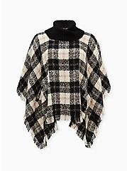 Black & White Buffalo Plaid Turtleneck Poncho, , hi-res