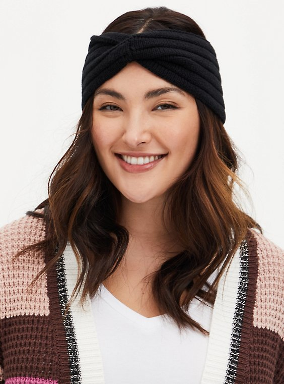 Black Twist-Front Earwarmer, , hi-res