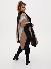 Black & Beige Stripe Shimmer Ruana, , alternate