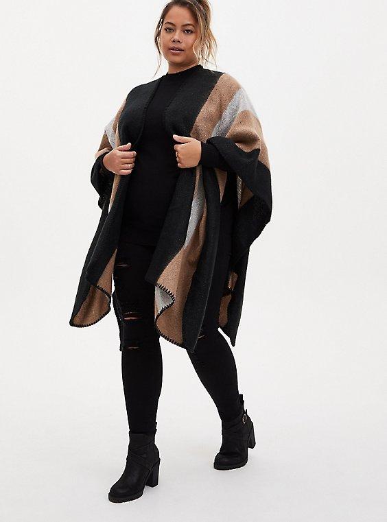 Black & Beige Stripe Shimmer Ruana, , hi-res