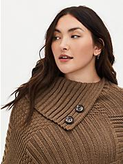 Camel Brown Asymmetrical Button Neck Poncho, , alternate