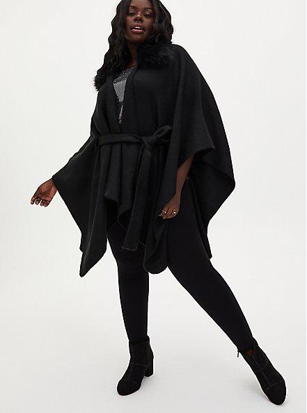 Black Faux Fur Collar Self Tie Ruana, , alternate