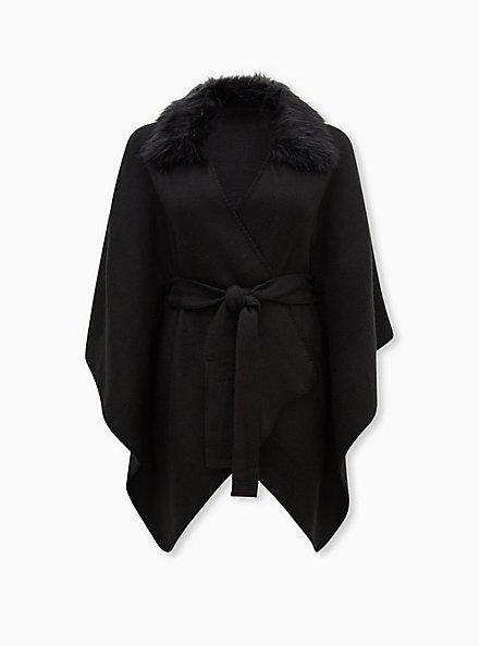 Black Faux Fur Collar Self Tie Ruana, , hi-res