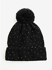 Black Rib Embellished Pom-Pom Beanie, , alternate