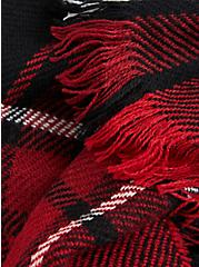 Red & Black Plaid Oblong Scarf, , alternate