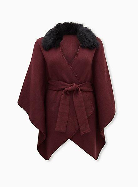 Burgundy Purple Faux Fur Collar Self Tie Ruana, , hi-res