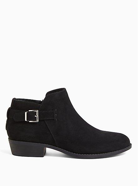 Black Faux Suede Buckle Ankle Boot (WW), BLACK, alternate