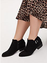 Black Faux Suede Buckle Ankle Boot (WW), BLACK, hi-res