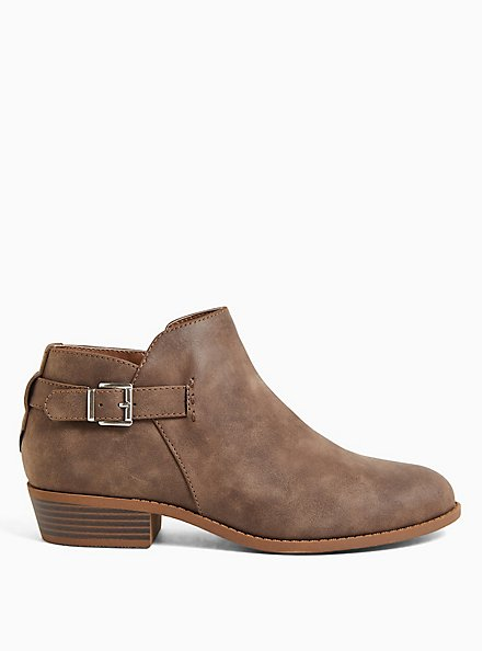 Taupe Faux Leather Buckle Ankle Boot (WW), TAN/BEIGE, alternate