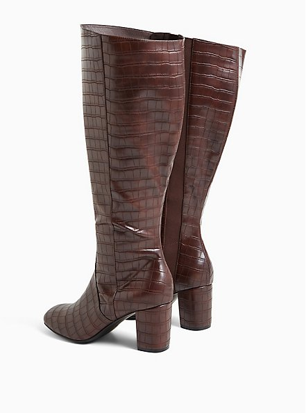 Chocolate Brown Faux Crocodile Leather Knee-High Boot (WW), BROWN, alternate