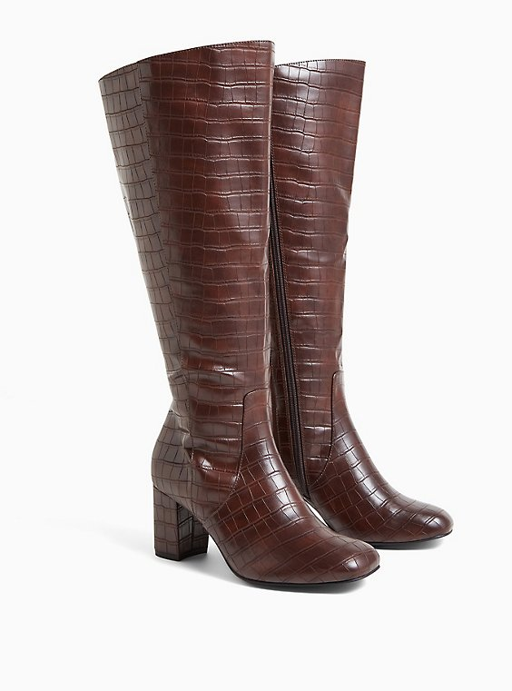 Chocolate Brown Faux Crocodile Leather Knee-High Boot (WW), , hi-res