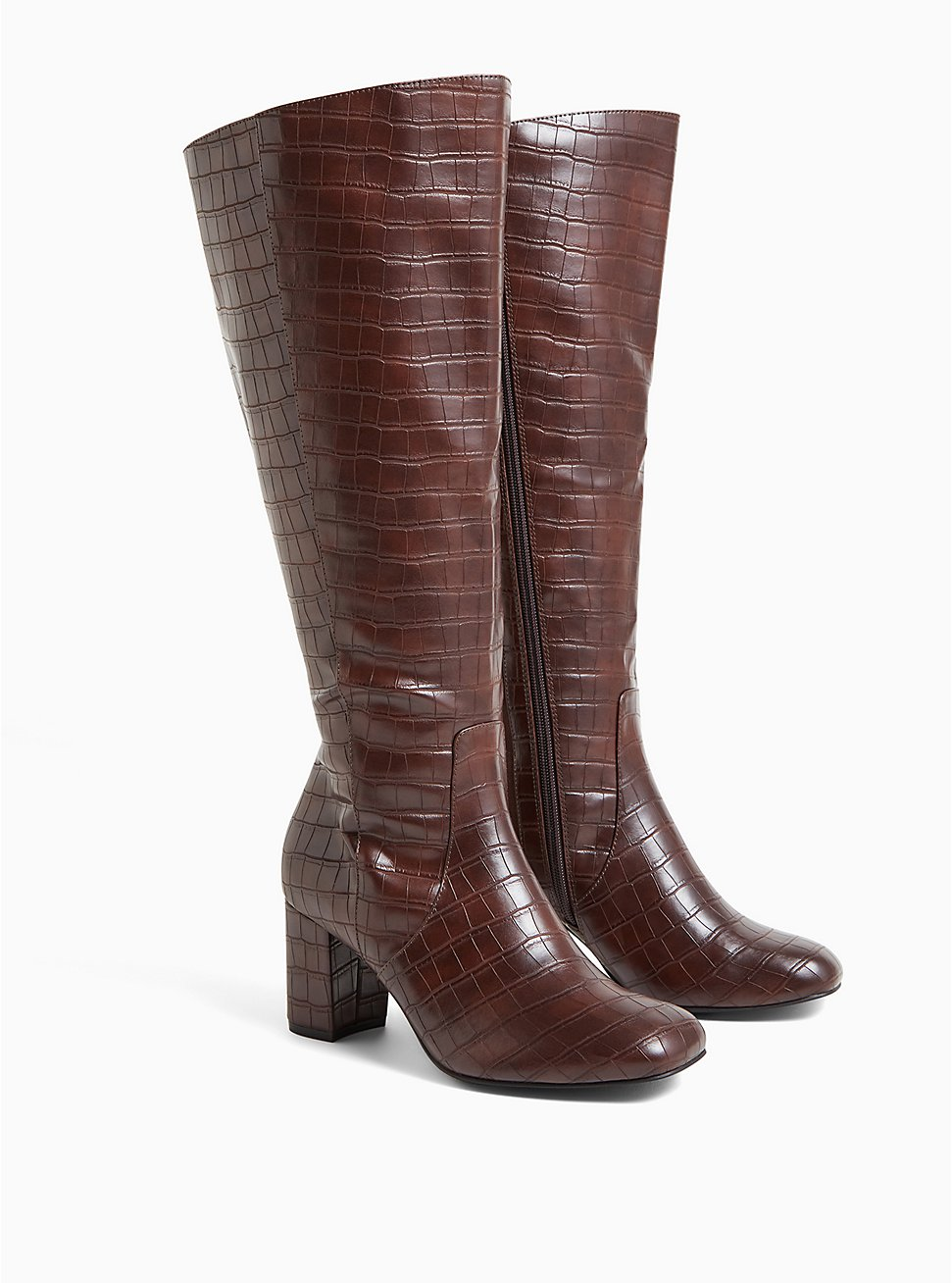 Chocolate Brown Faux Crocodile Leather Knee-High Boot (WW), BROWN, hi-res