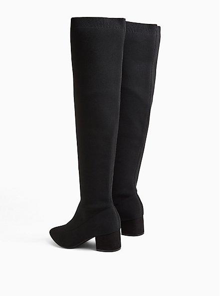 Black Knit Over-the-Knee Low Block Heel Boot (WW), BLACK, alternate