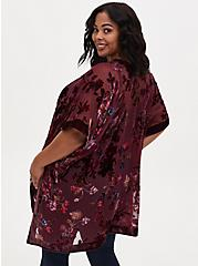 Burgundy Purple Floral Velvet Burnout Kimono, FLORAL - MULTI, alternate