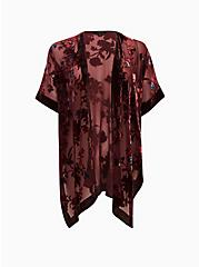 Burgundy Purple Floral Velvet Burnout Kimono, FLORAL - MULTI, hi-res