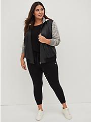 Black Faux Leather & Marled Grey Terry Bomber Jacket, DEEP BLACK, alternate