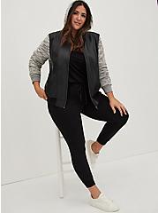 Black Faux Leather & Marled Grey Terry Bomber Jacket, DEEP BLACK, hi-res