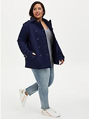 Navy Fleece Double-Breasted Peacoat, PEACOAT, alternate