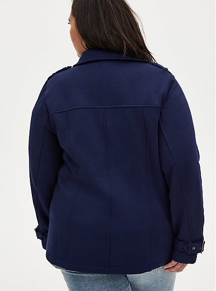 Navy Fleece Double-Breasted Peacoat, PEACOAT, alternate