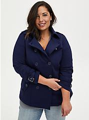 Navy Fleece Double-Breasted Peacoat, PEACOAT, hi-res